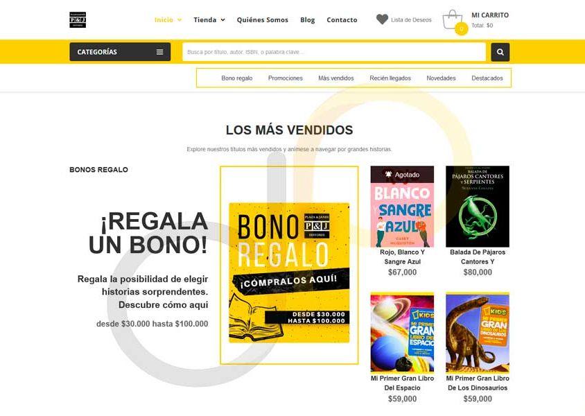 Diseño de Página Web Plaza y Janés Colombia